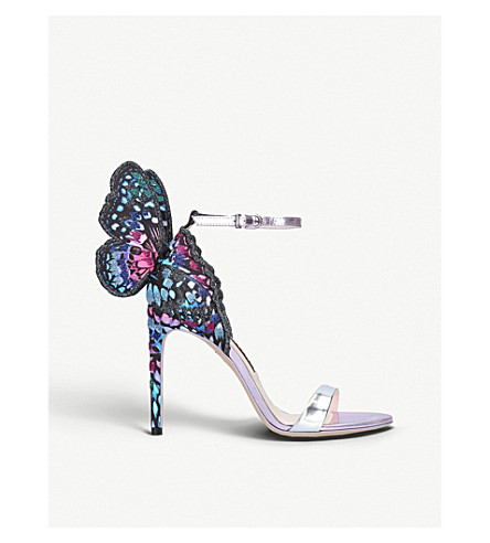 b4b6b13202f2 SOPHIA WEBSTER Chiara embroidered satin and metallic leather sandals  (Silver+com