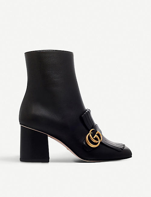 GUCCI: Marmont leather heeled ankle boots