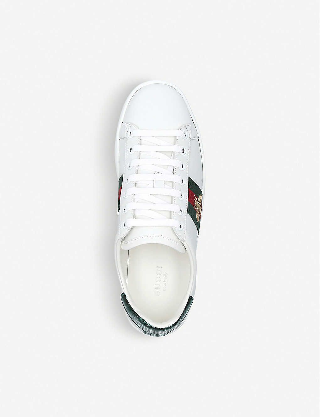 463a7307b4e ... Ladies New Ace bee-embroidered leather trainers - Whitered ...