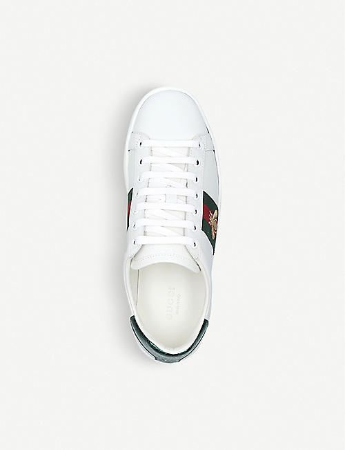 GUCCI Ladies New Ace bee-embroidered leather trainers
