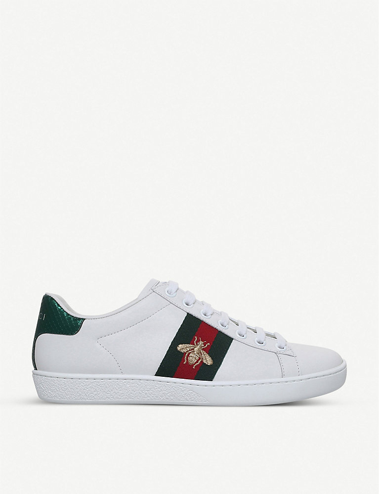 4b57da556 GUCCI - Ladies New Ace bee-embroidered leather trainers   Selfridges.com