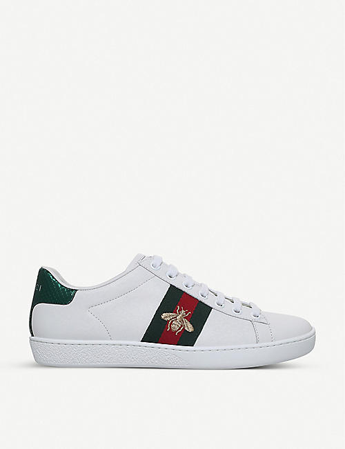 d3d742029f GUCCI - Ladies New Ace bee-embroidered leather trainers | Selfridges.com