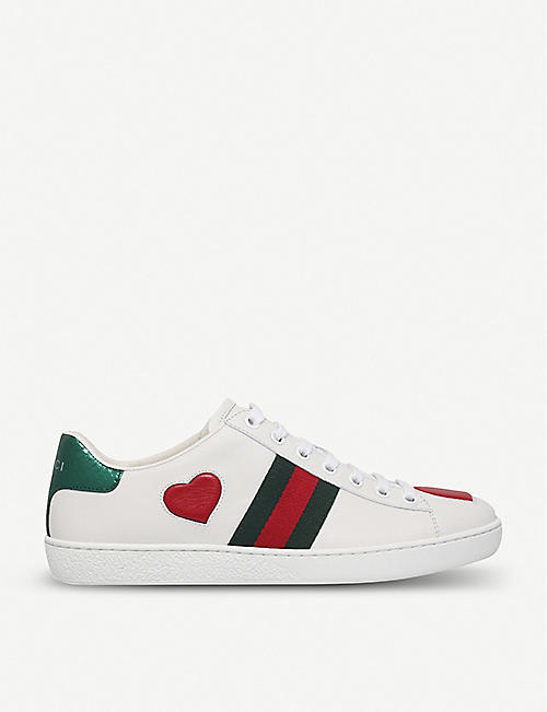 ef480440583 GUCCI New Ace heart-detail leather trainers