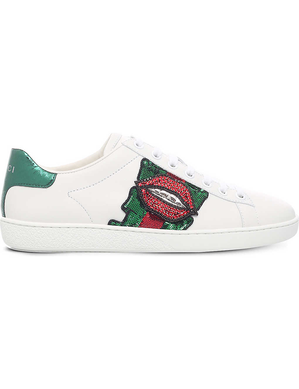 914bcc64dbe New Ace lips-embellished leather trainers - Whitered ...