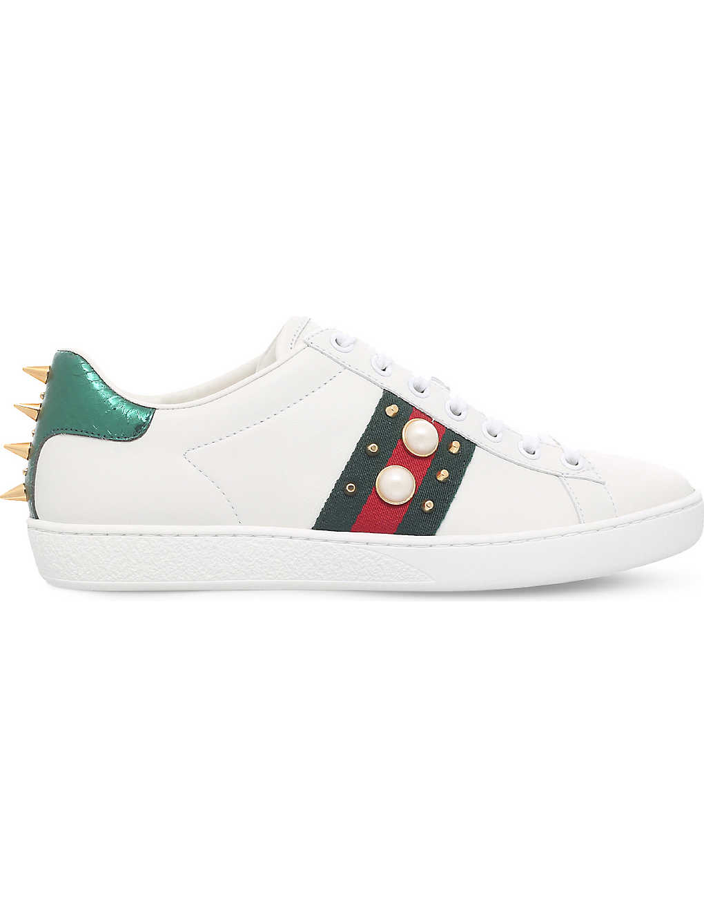 d839aad4b9f New Ace pearl and stud-detail leather trainers - Whitered ...