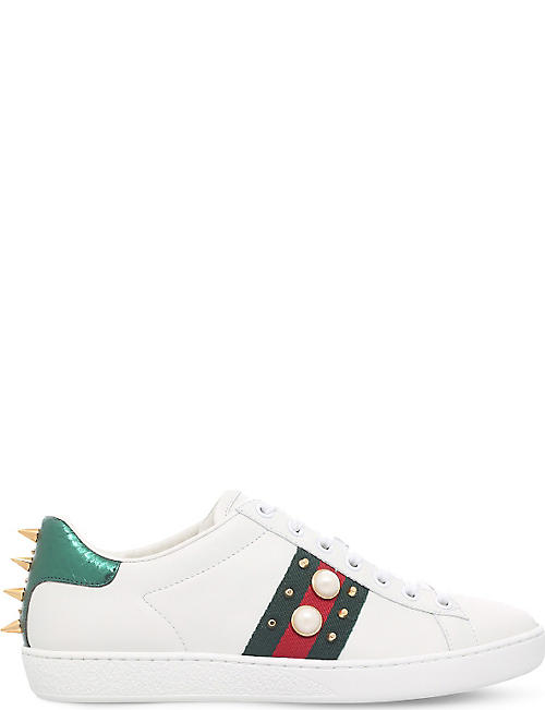 GUCCI New Ace pearl and stud-detail leather sneakers 4079fff23a