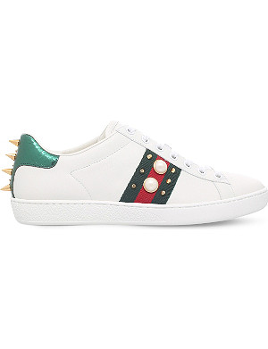 4b5353130c0 GUCCI - Ladies New Ace bee-embroidered leather trainers | Selfridges.com