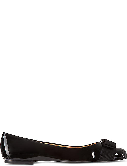 SALVATORE FERRAGAMO: Varina patent-leather flats