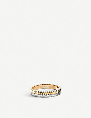 BOUCHERON: Quatre Radiant Edition 18ct yellow-gold, white-gold and 0.24ct diamond wedding band
