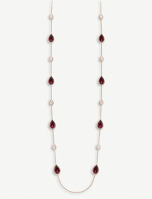 BOUCHERON Serpent Bohème 18ct pink-gold, diamond and rhodolite garnet long necklace