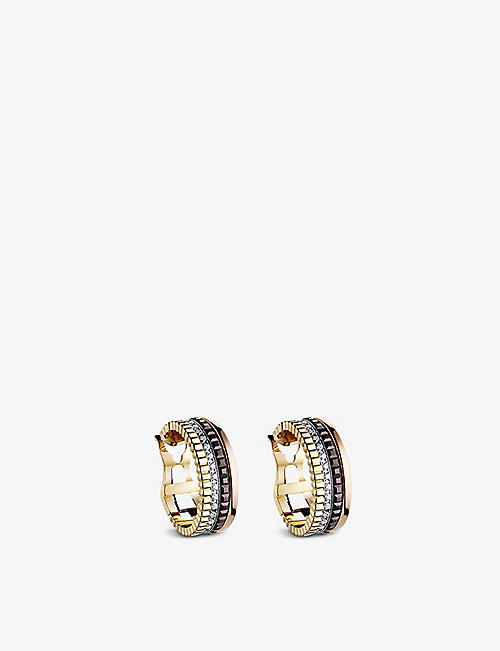 BOUCHERON Quatre Classique 18ct yellow-gold, white-gold and pink-gold and diamond hoop earrings
