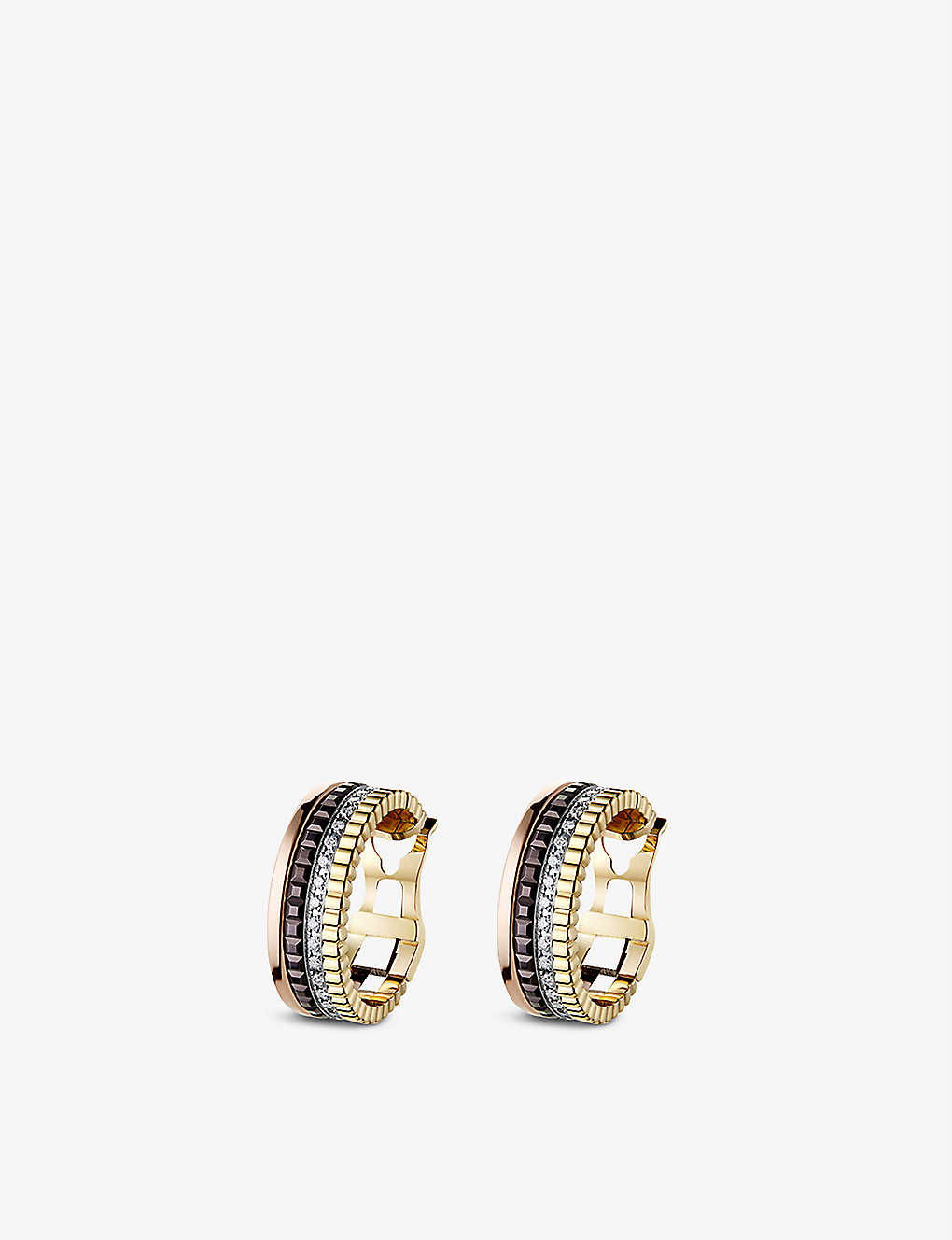 BOUCHERON: Quatre Classique 18ct yellow-gold, white-gold and pink-gold and diamond hoop earrings