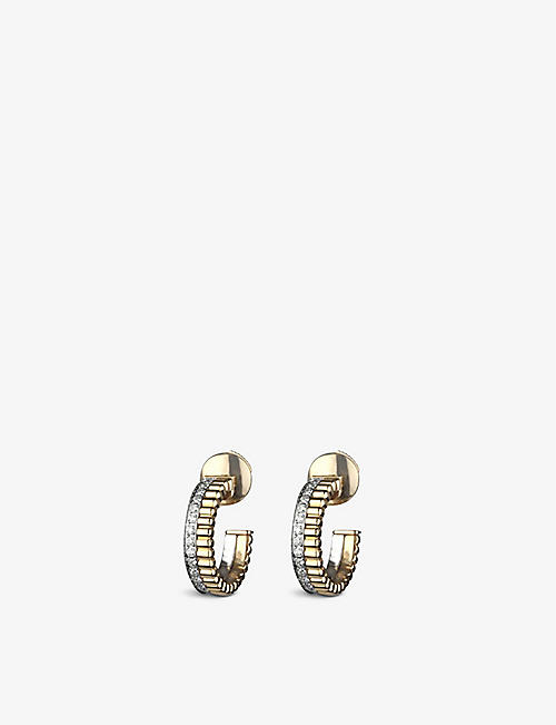 BOUCHERON Quatre Radiant Edition 18ct yellow gold, white-gold and diamond hoop earrings