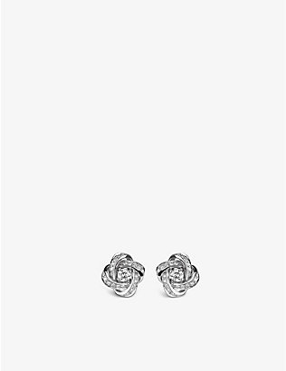 BOUCHERON: Pivoine 18-ct white-gold and diamond stud earrings