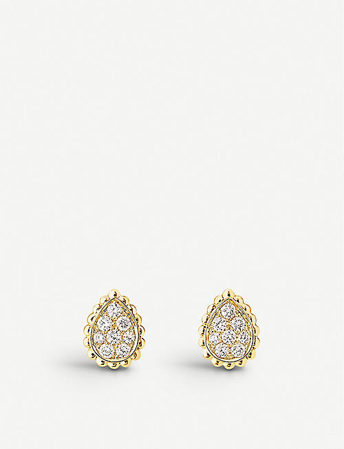 BOUCHERON: Serpent Bohème 18ct yellow-gold and diamond stud earrings