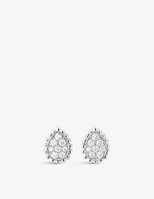 BOUCHERON: Serpent Bohème 18ct white-gold and diamond stud earrings