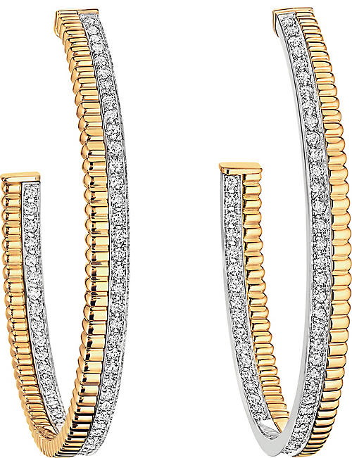 BOUCHERON Quatre Radiant Edition 18ct yellow-gold, white-gold and diamond hoop earrings