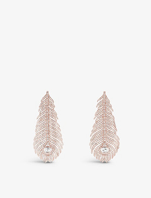 BOUCHERON Plume de Paon 18ct pink-gold and diamond feather earrings