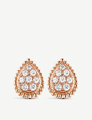 BOUCHERON Serpent Boh?me 18ct yellow-gold and diamond stud earrings