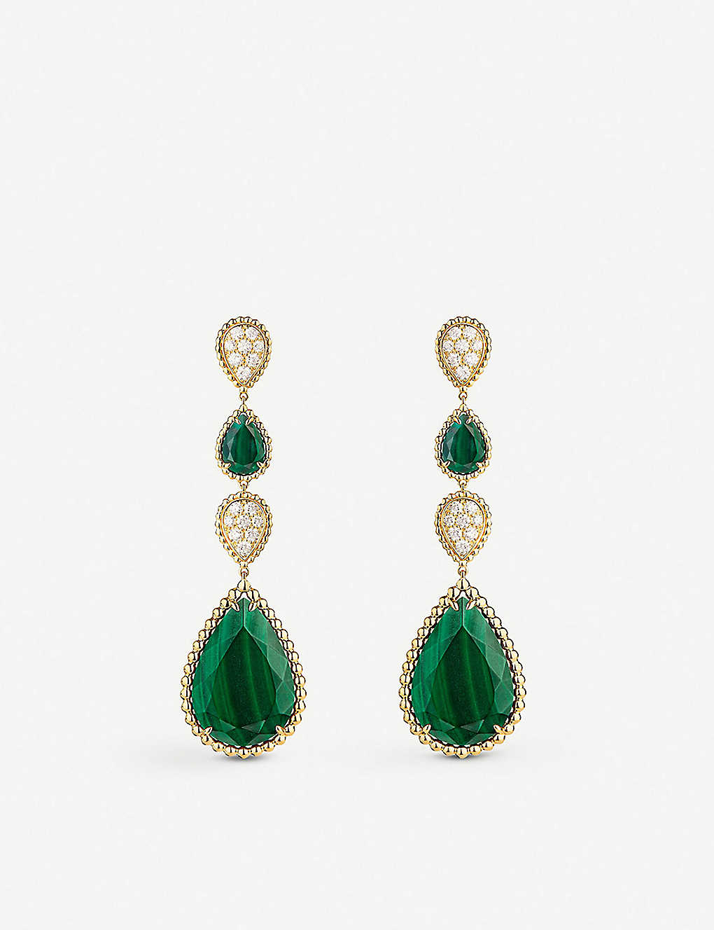 BOUCHERON: Serpent Bohème 18ct yellow-gold, malachite and diamond pendant earrings