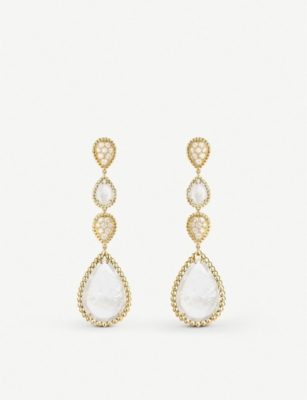 BOUCHERON Serpent Bohème 18ct yellow-gold, mother-of-pearl and diamond earrings