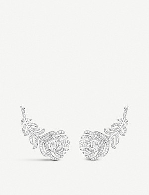 BOUCHERON Plume de Paon 18ct white-gold and diamond earrings