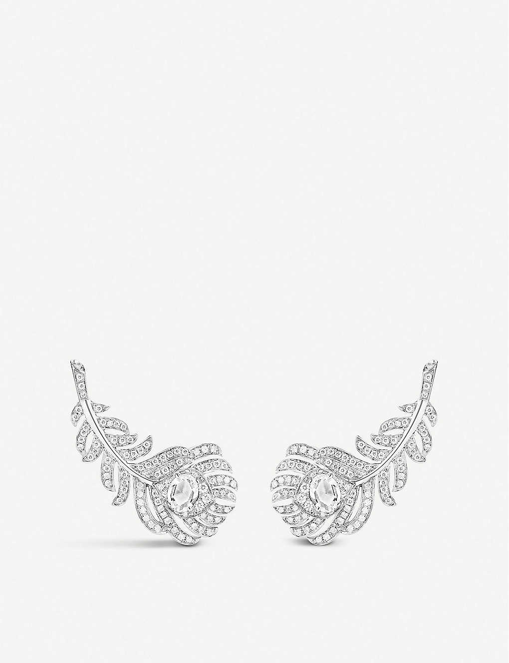 BOUCHERON: Plume de Paon 18ct white-gold and 1.1ct diamond earrings