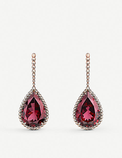 BOUCHERON Serpent Boheme 18ct rose-gold and rhodolite drop earrings