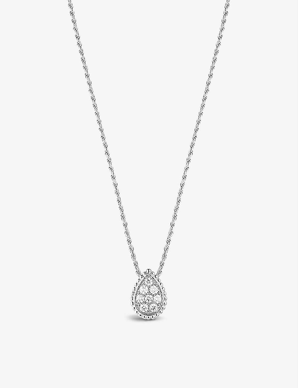 BOUCHERON: Serpent Bohème 18ct white-gold and diamond pendant necklace