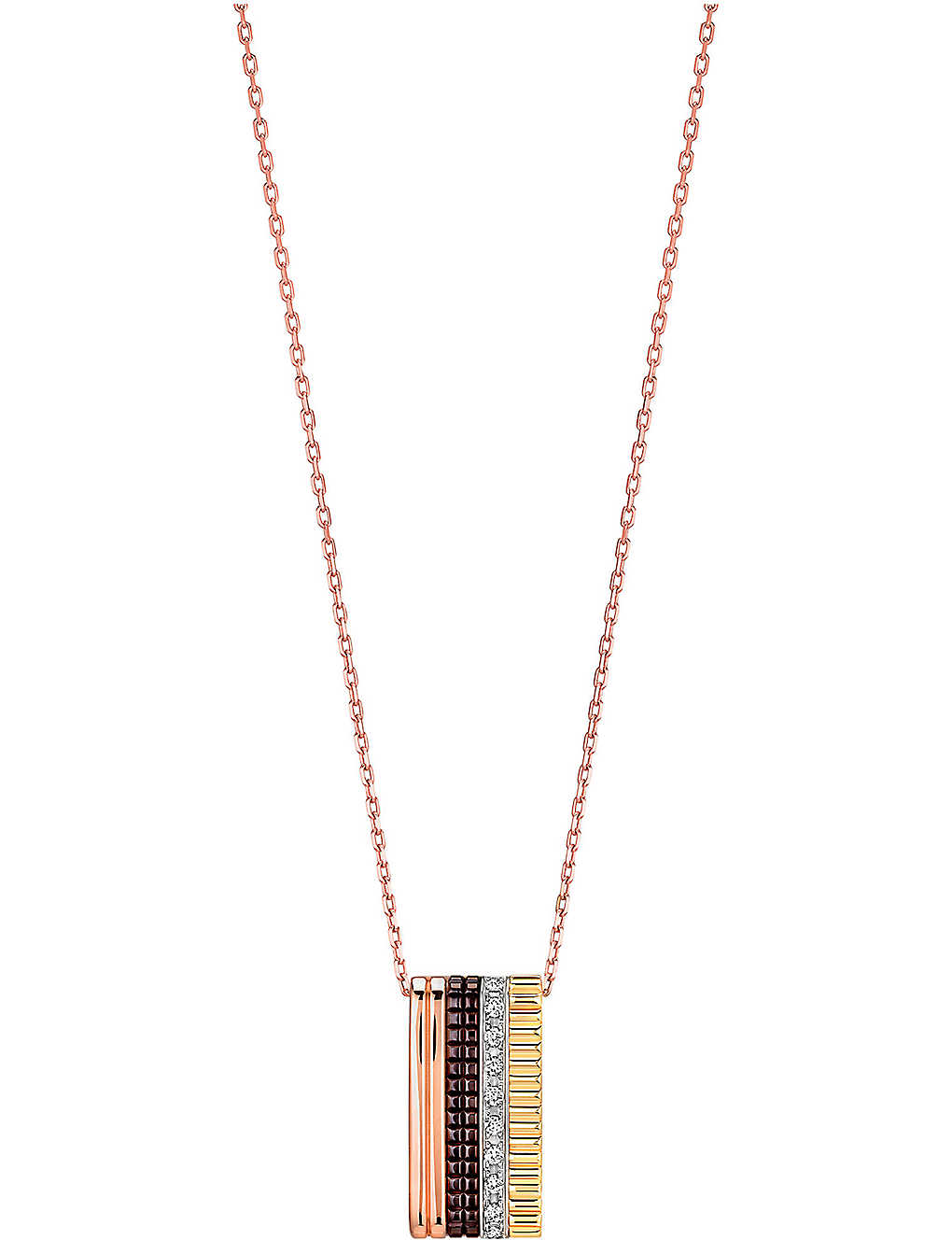BOUCHERON: Quatre Classique 18ct pink-gold, yellow-gold white-gold and diamond pendant necklace