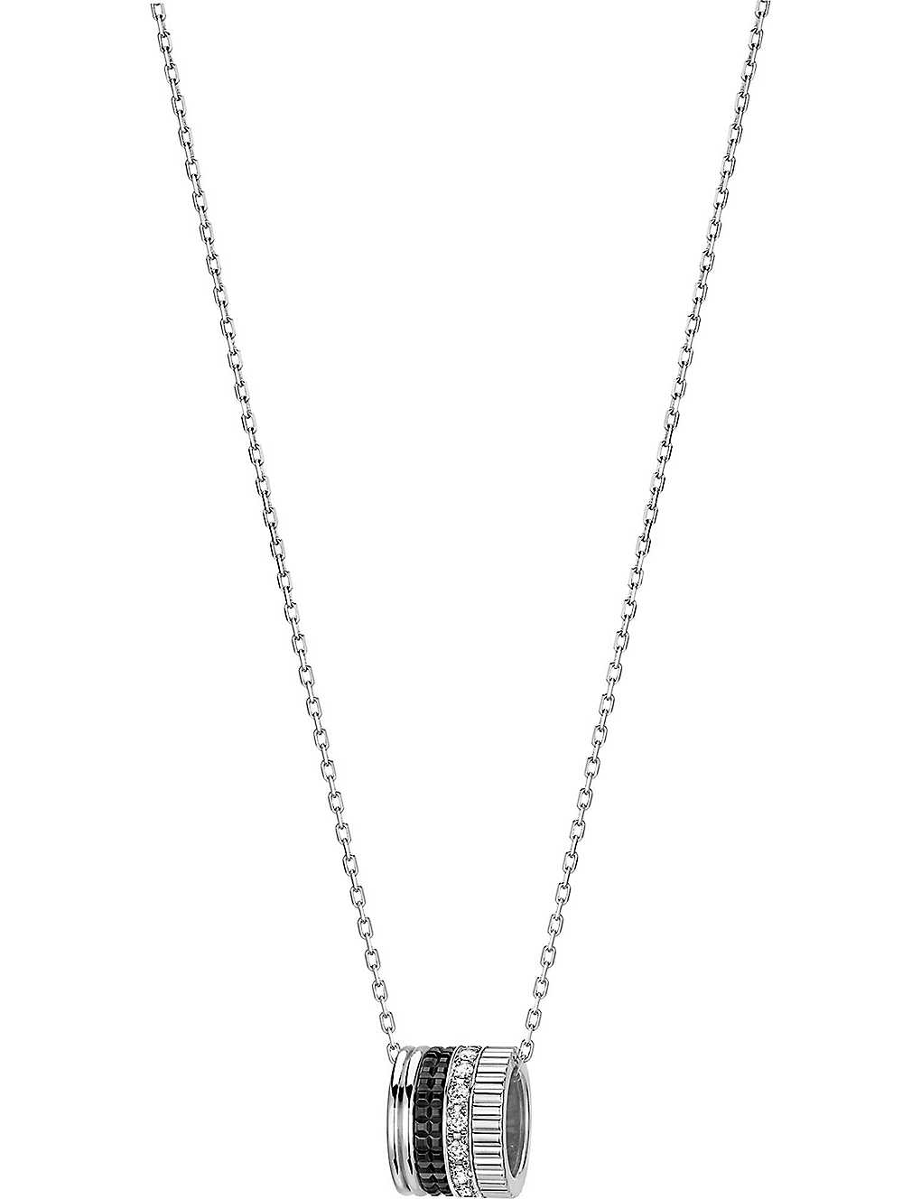 BOUCHERON: Quatre Black Edition 18ct white-gold and diamond pendant necklace
