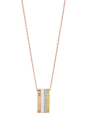 BOUCHERON Quatre White Edition 18ct pink-gold, yellow-gold, white-gold and diamond pendant necklace