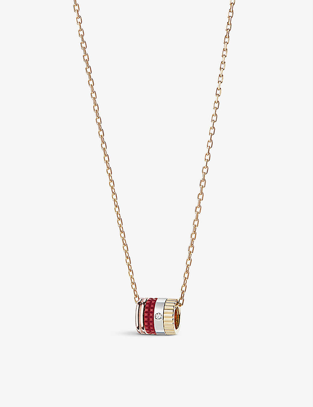 BOUCHERON: Quatre Red Edition 18ct rose-gold, yellow-gold, white-gold, ceramic and diamond pendant necklace