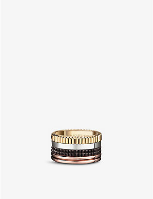 BOUCHERON: Quatre Classique 18ct yellow-gold, white-gold and pink-gold ring