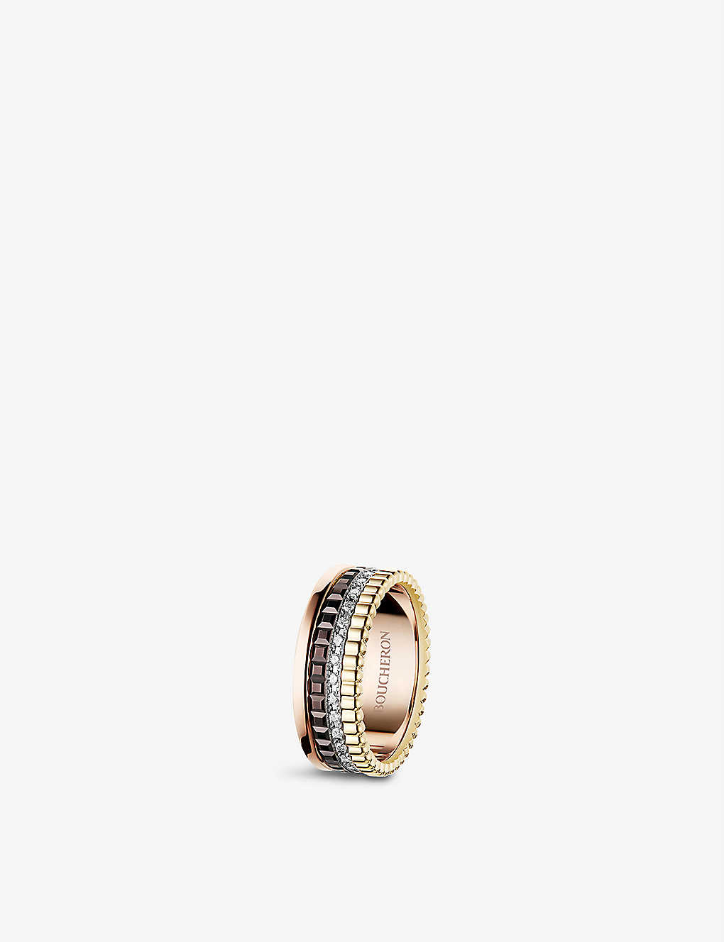 BOUCHERON: Quatre Classique 18ct yellow-gold, white-gold, pink-gold and diamond ring
