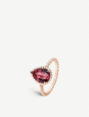 BOUCHERON Serpent Bohème 18ct pink-gold and rhodolite garnet ring