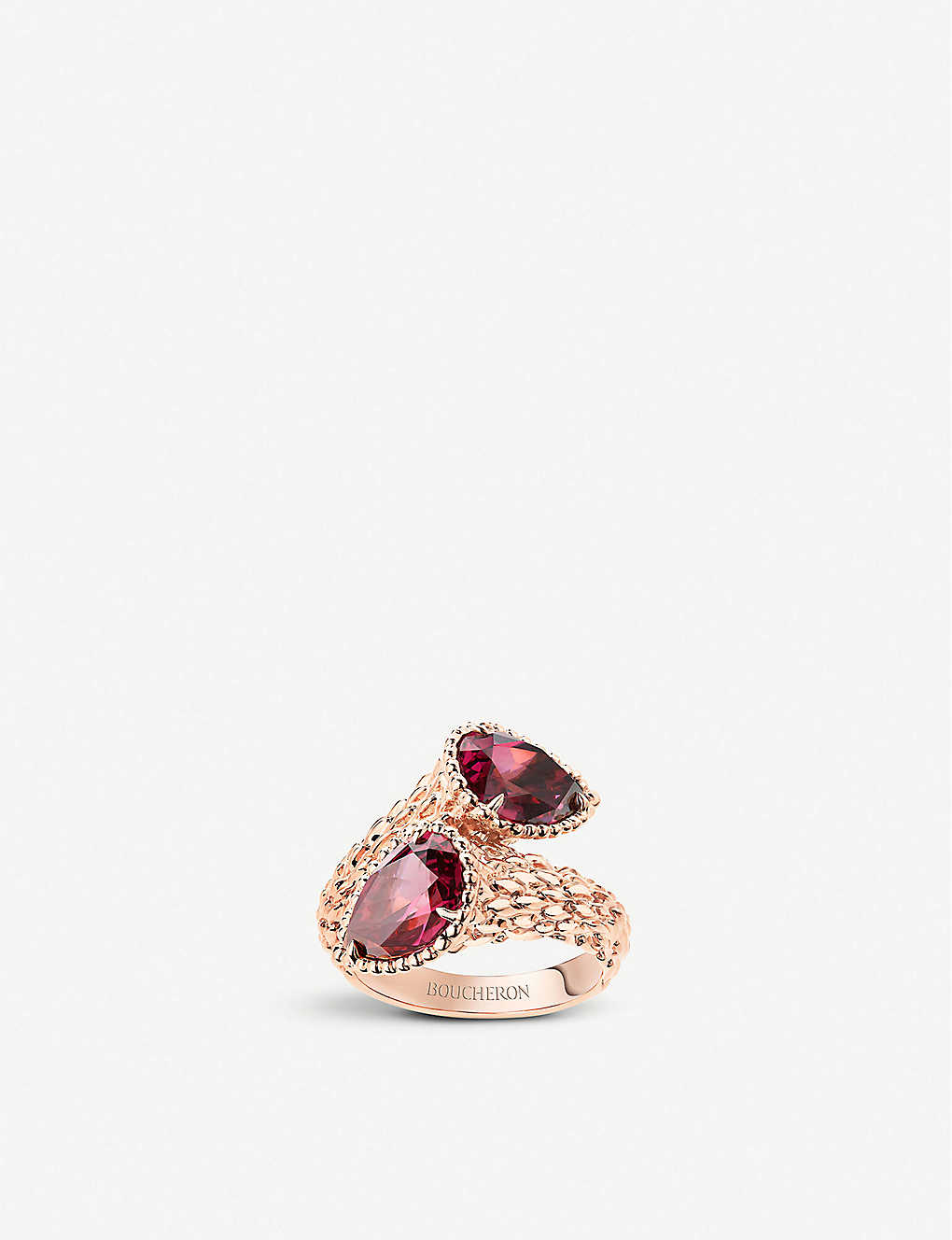BOUCHERON: Serpent Bohème pink-gold and rhodolite garnet ring