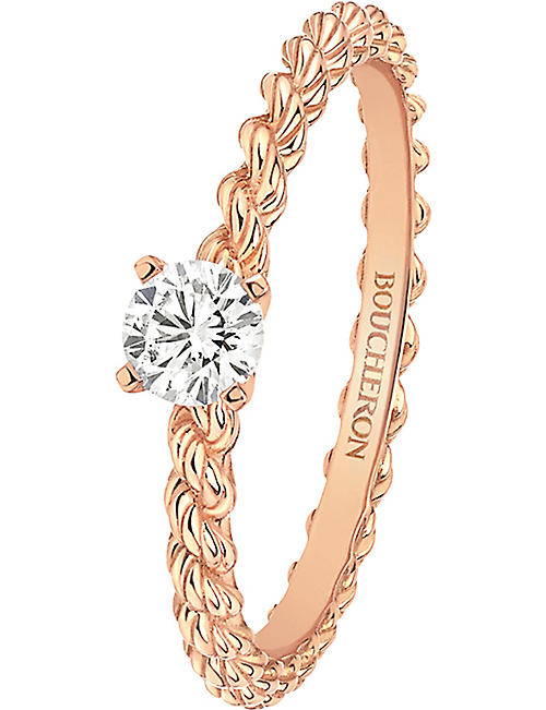 BOUCHERON Serpent Bohème 18ct pink-gold and solitaire diamond ring