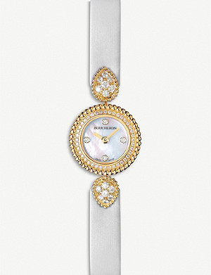 BOUCHERON Serpent Boheme 18ct yellow-gold, diamond and mother-of-pearl watch