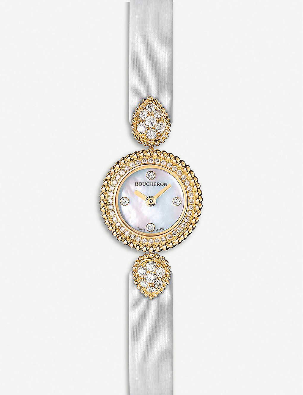 BOUCHERON: Serpent Boheme 18ct yellow-gold, diamond and mother-of-pearl watch