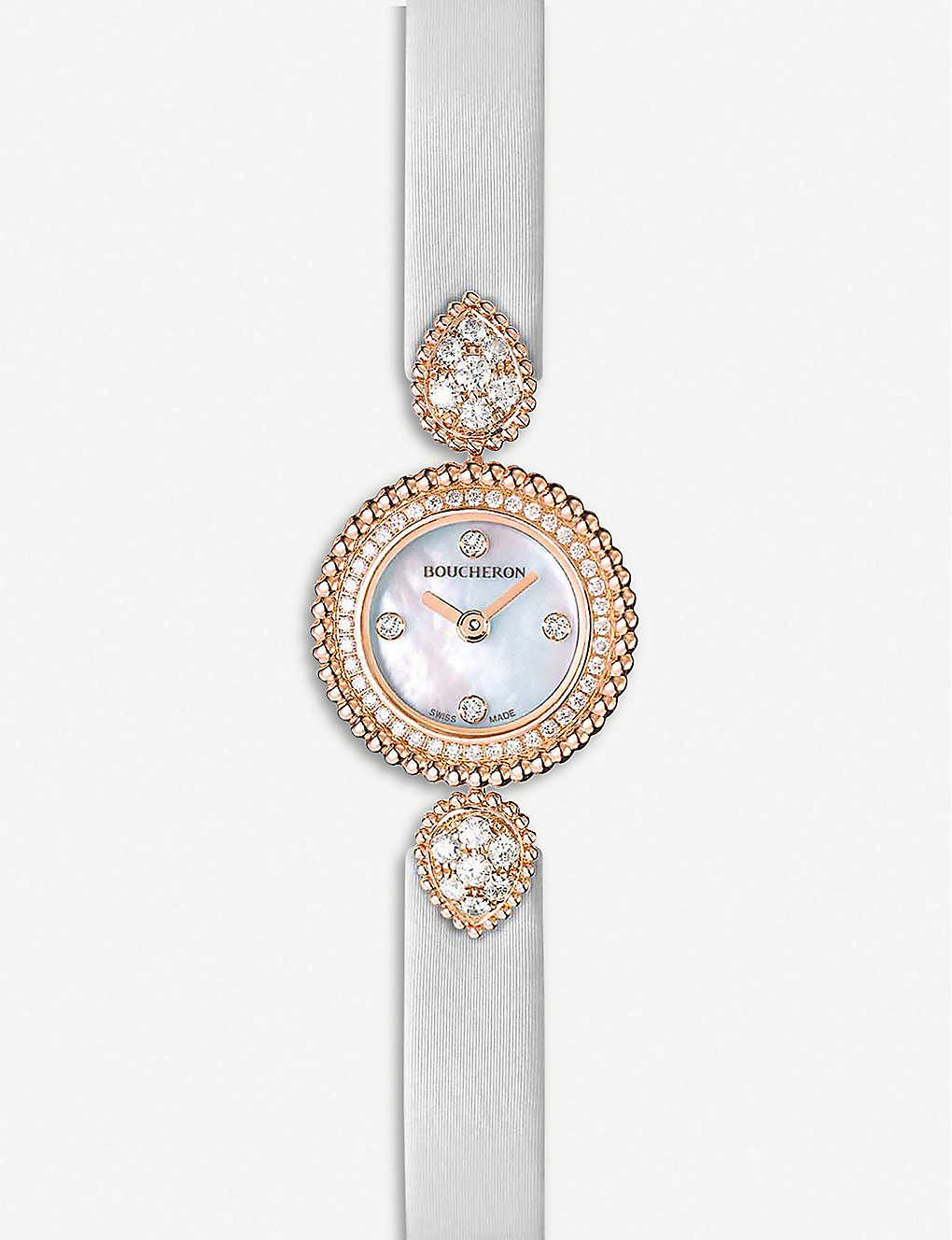 BOUCHERON: Serpent Boheme 18ct rose-gold, diamond and mother-of-pearl watch