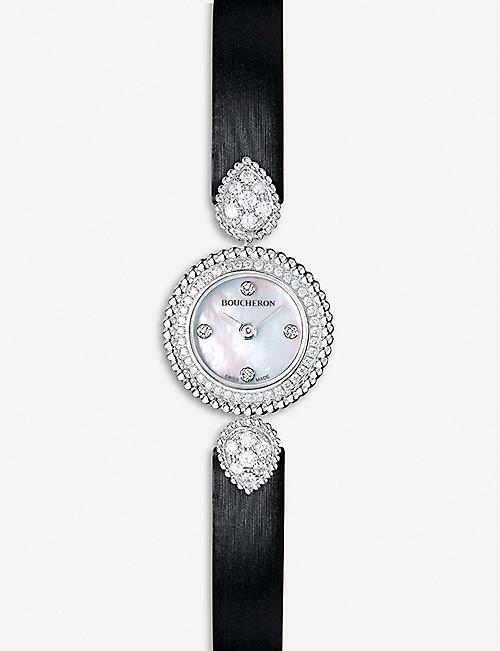 BOUCHERON: Serpent Boheme 18ct white-gold, diamond and mother-of-pearl watch