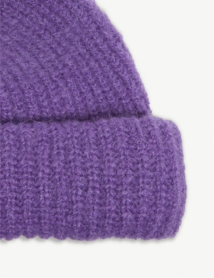 52e9a299457 Sandro Ribbed Beanie Hat In Purple