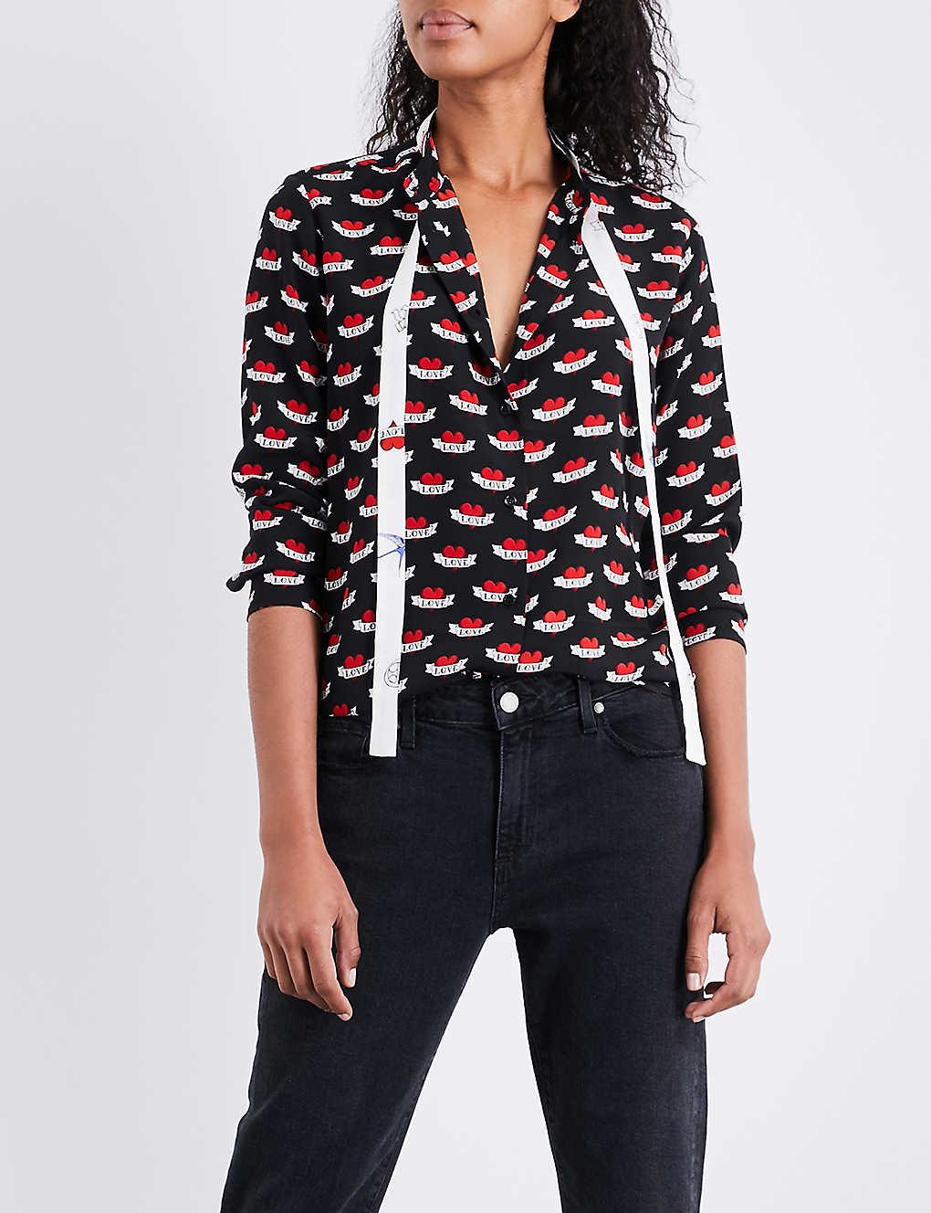 cb5e7acde794d SANDRO - Heart-print silk-crepe shirt