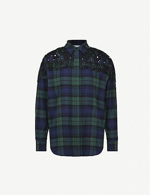 095dbb06fb9837 SANDRO Bead-embellished checked brushed-cotton shirt