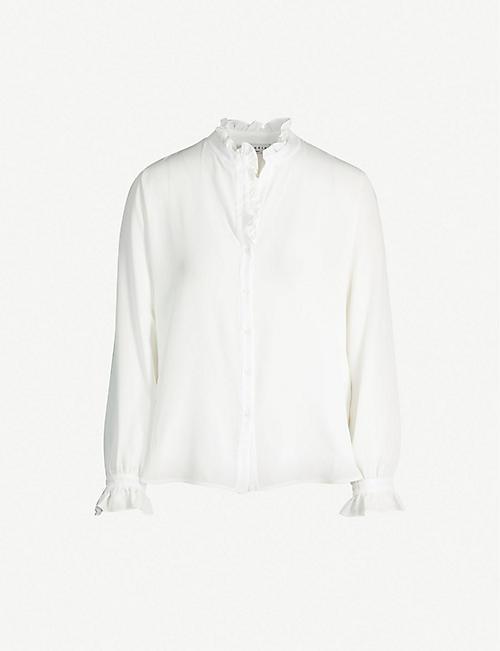 28af783a668fca SANDRO Ruffled-detail silk-crepe shirt