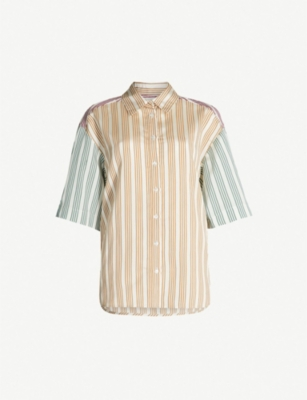SANDRO Striped oversized crepe-satin shirt