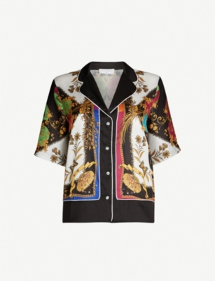 SANDRO Printed satin short-sleeved shirt