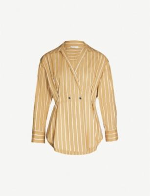 SANDRO Mathilde striped fit-and-flare cotton-twill shirt