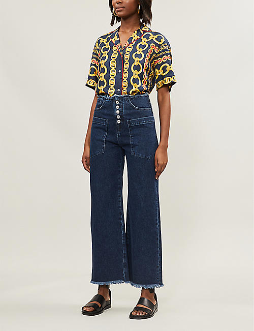 c2c03c5b9758 SANDRO Contrast-piped chain-print silk-satin shirt